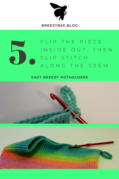 single stitch around your loop until you build up A full potholder (1)