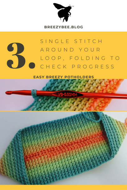 single stitch around your loop until you build up A full potholder (4)